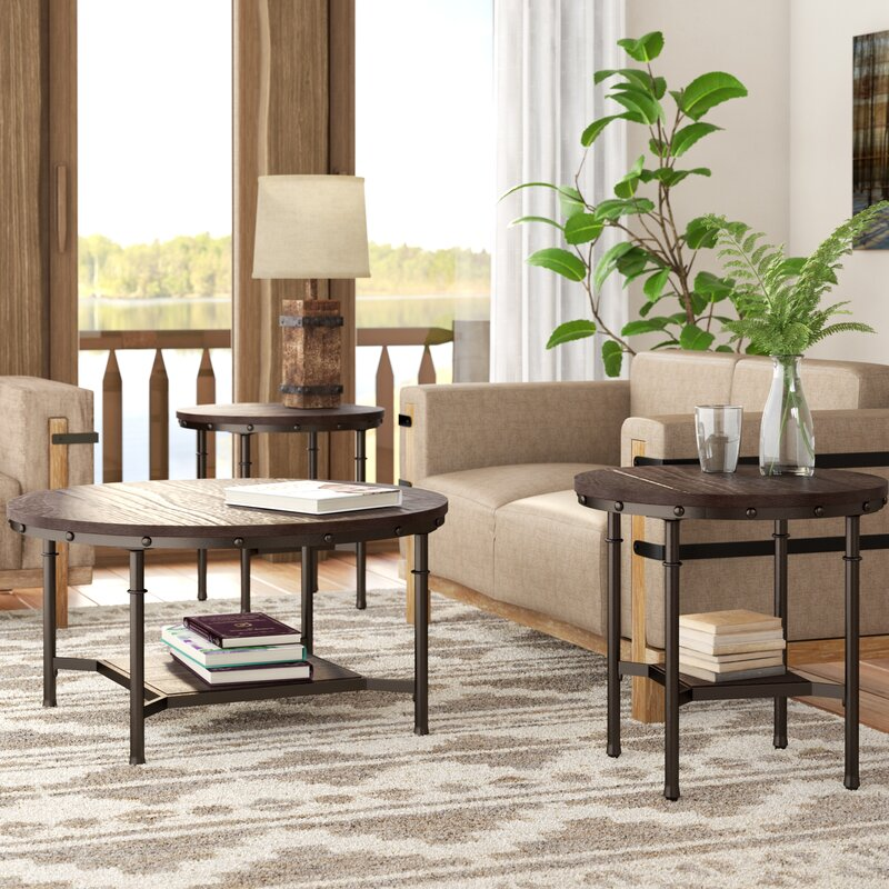 40 Rustic Living Room Ideas To Fashion Your Revamp Around: Croley 3 Piece Coffee Table Set & Reviews