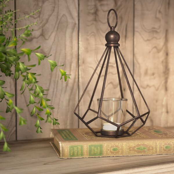 Contemporary Metal Hurricane Lantern by Laurel Foundry Modern Farmhouse