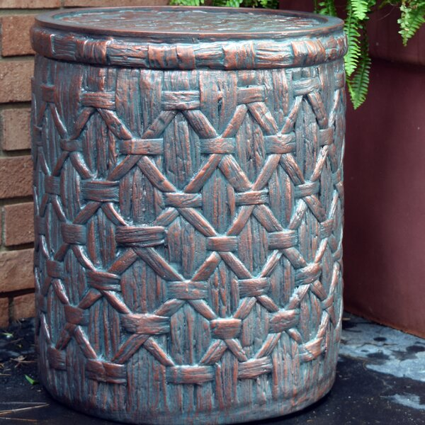 Jeri Outdoor Basket Weave Side Table by Bay Isle Home