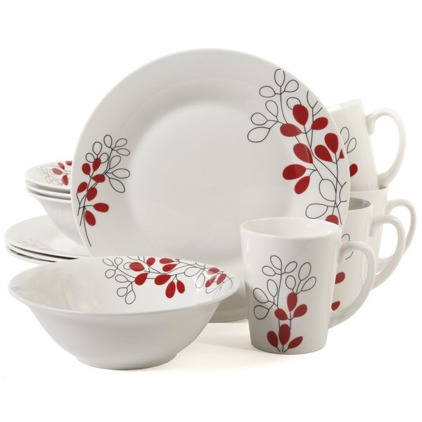 Dickerson Scarlet Leaves 12 Piece Dinnerware Set, Service for 4 by Winston Porter