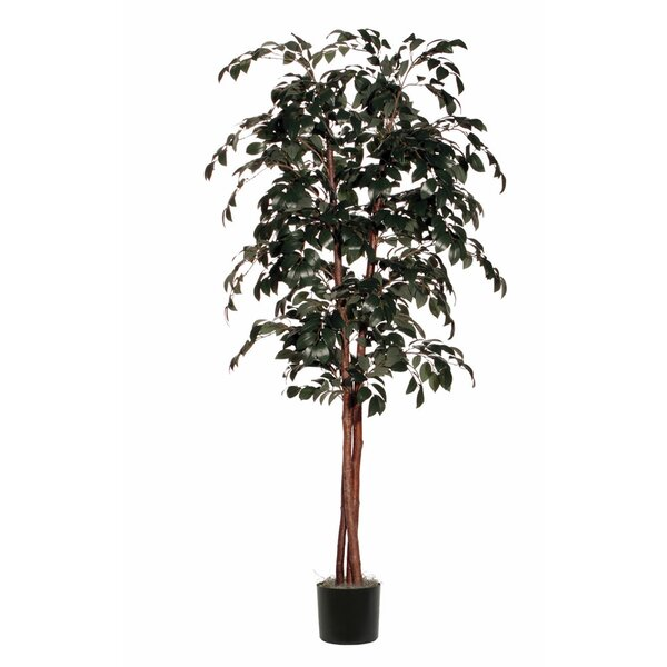 Artificial Ficus Sakaki Deluxe Tree in Pot by World Menagerie