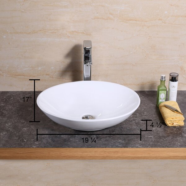 Ceramic Oval Vessel Bathroom Sink by Luxier