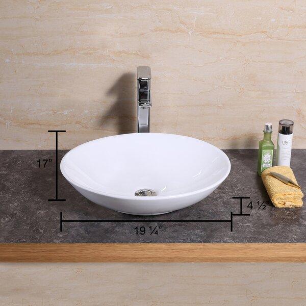 Ceramic Oval Vessel Bathroom Sink by Luxier