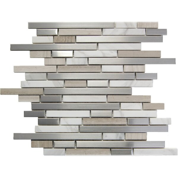 Random Sized Mixed Material Mosaic Tile in White/Gray by Luxsurface