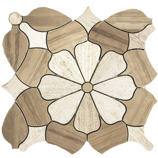 Water Jet Daisy Random Sized Marble Mosaic Tile in White Oak by Matrix Stone USA