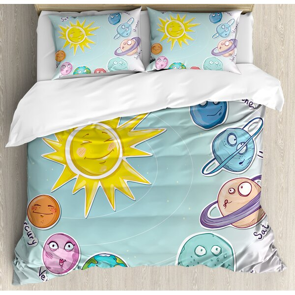 Space Cute Cartoon Sun and Planets of Solar System Duvet Set by Ambesonne