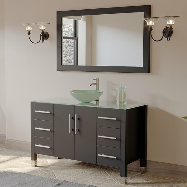 Meserve Solid Wood Glass Vessel 47 Single Bathroom Vanity Set with Mirror by Brayden Studio