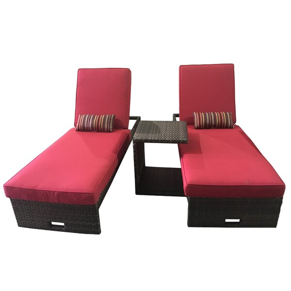 Singson Reclining Chaise Lounge Set with Cushion and Table