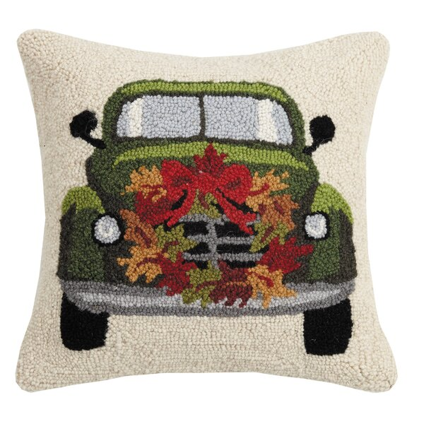 Mcelvain Fall Truck with Wreath Wool Throw Pillow by The Holiday Aisle