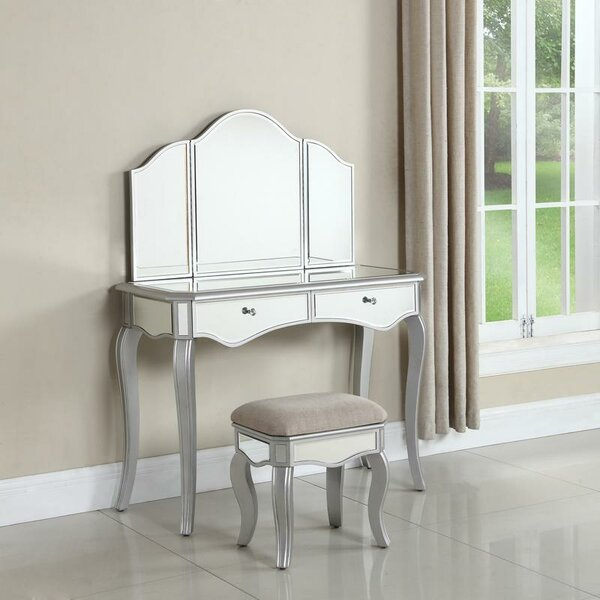 Lia Vanity Set with Mirror by Rosdorf Park