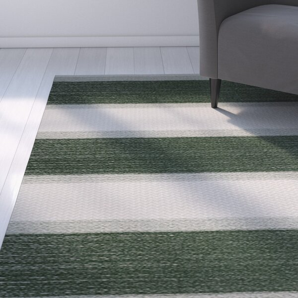 Addyson Stripe Print Green Indoor/Outdoor Area Rug by Breakwater Bay