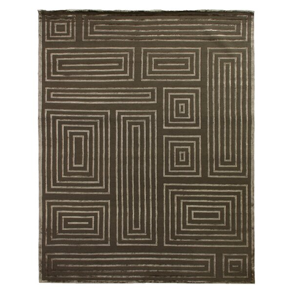 Hand-Knotted Wool/Silk Khaki/Beige Area Rug by Exquisite Rugs