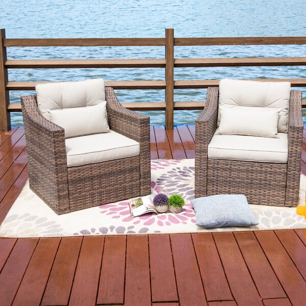 Kunz Outdoor Wicker Patio Chair with Cushions (Set of 2) by Highland Dunes Highland Dunes