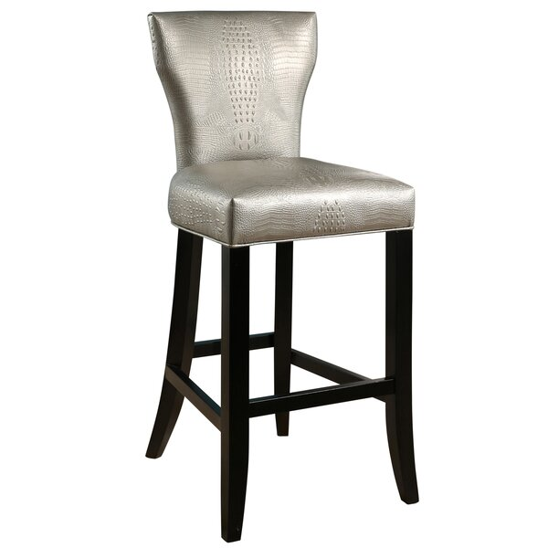 Zora Crocodile Embossed 29.9 Bar Stool by Everly Quinn