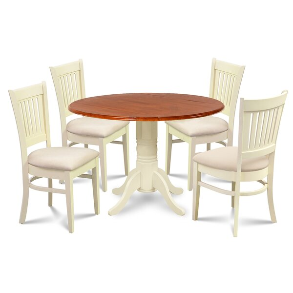 Thornhill 5 Piece Drop Leaf Solid Wood Dining Set by Alcott Hill