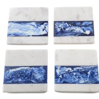 Everly Quinn Rippled Marble Designer Coaster Wayfair