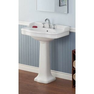 Top Reviews Vitreous China 23 Pedestal Bathroom Sink with Overflow ByCheviot Products