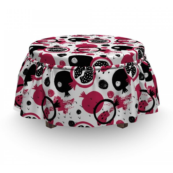 Grunge Pomegranate And Stains Ottoman Slipcover (Set Of 2) By East Urban Home