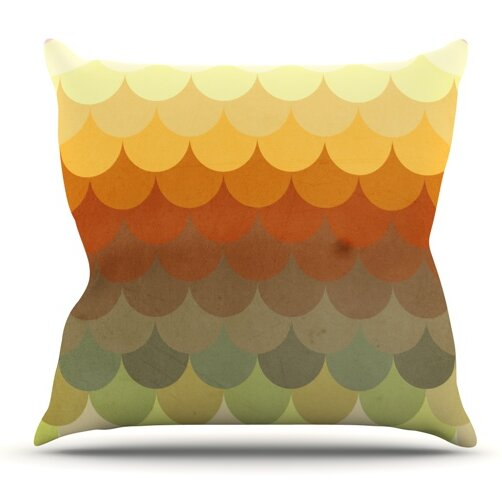 Half Circle Waves Color by Danny Ivan Outdoor Throw Pillow by East Urban Home