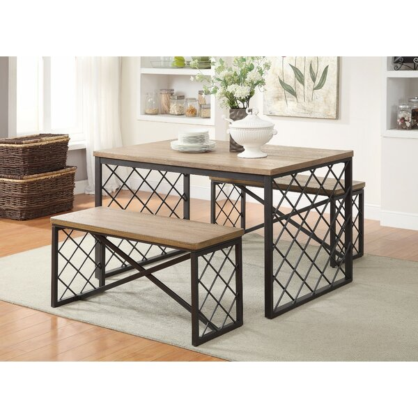 Brucie Wood and Metal 3 Piece Dining Set by Gracie Oaks