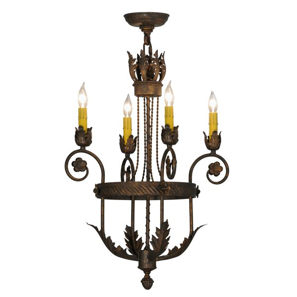 Nordman 4 - Light Candle Style Wagon Wheel Chandelier By Astoria Grand