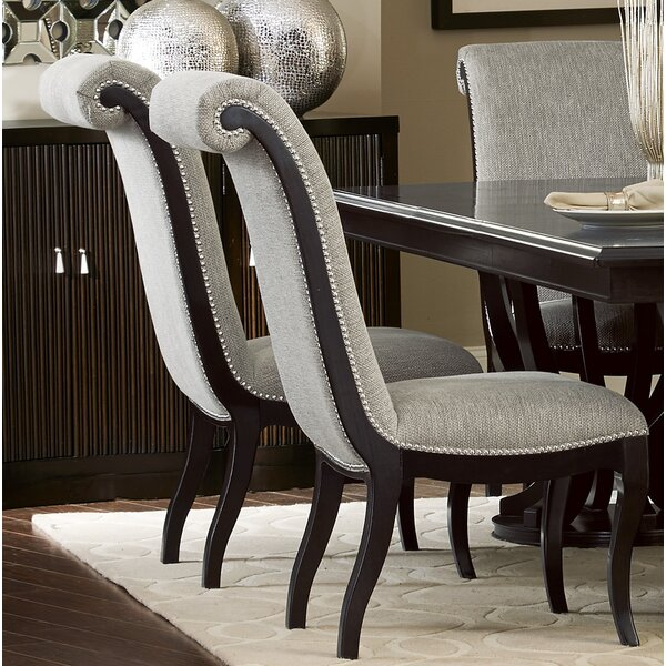 Baypoint Linen Upholstered Side Chair In Espresso By Canora Grey