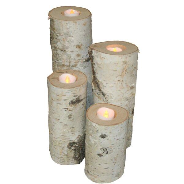 Birch Candle 4 Piece Wood Votive Holder Set by Millwood Pines