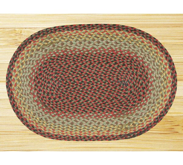 Burgundy/Black/Sage Braided Area Rug by Earth Rugs