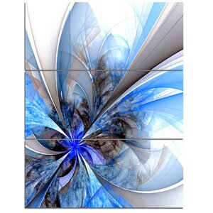 Symmetrical Large Blue Fractal Flower - 3 Piece Graphic Art on Wrapped Canvas Set by Design Art