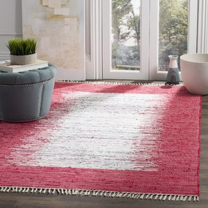 Static Hand-Woven Cotton Red Area Rug
