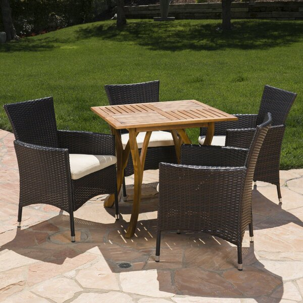 Meriam Outdoor Acacia Wood/Wicker 5 Piece Dining Set with Cushions by Gracie Oaks