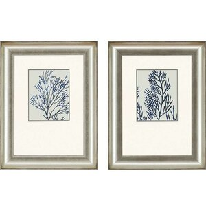 'Indigo Coral I' 2 Piece Framed Graphic Art Set (Set of 2) by Beachcrest Home
