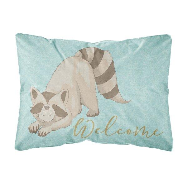 Ruffner Raccoon Welcome Indoor/Outdoor Throw Pillow by Winston Porter