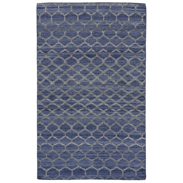Hallock Hand-Loomed Blue Wool Pile Area Rug by Brayden Studio