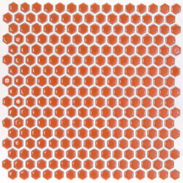 Bliss 0.6 x 0.6 Ceramic Mosaic Tile in Mango by Splashback Tile