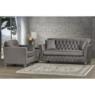 Canny Grey Velvet Fabric Button Tufted Sofa And Chair by Rosdorf Park