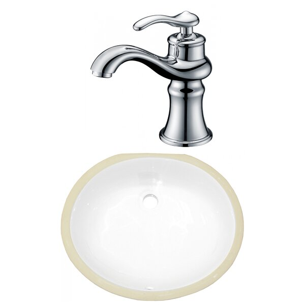 CSA Ceramic Oval Undermount Bathroom Sink with Faucet and Overflow by American Imaginations