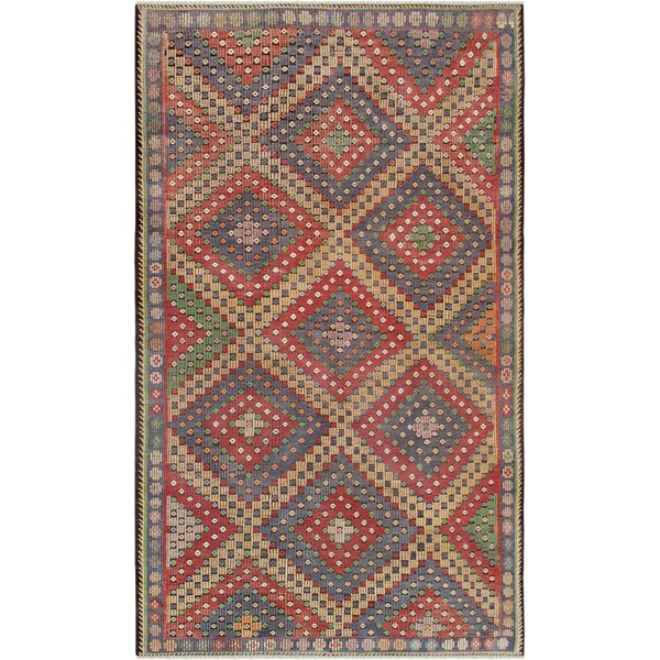 Vintage Kilim Hand-Woven Wool Red Area Rug by Pasargad