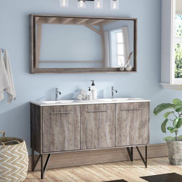 Ellison Nature Wood 60 Quot Double Bathroom Vanity With Mirror