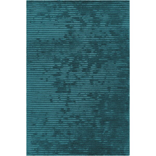 Nathen Textured Striped Blue Area Rug by 17 Stories