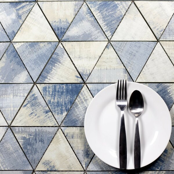 Nature 11.75 x 12.25 Glass Tile in Cement Blue/Gray by Abolos