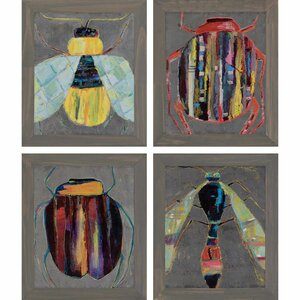 'Bugging' by Swider 4 Piece Framed Painting Print Set by Paragon