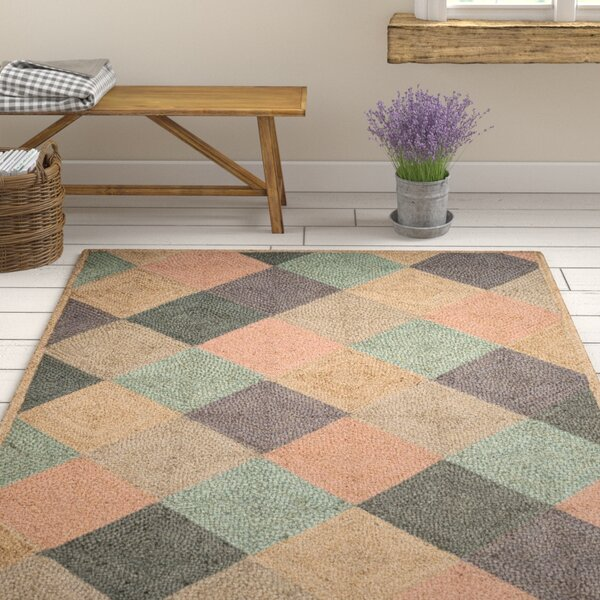 Gigi Hand-Woven Natural/Green/Gray Area Rug by August Grove