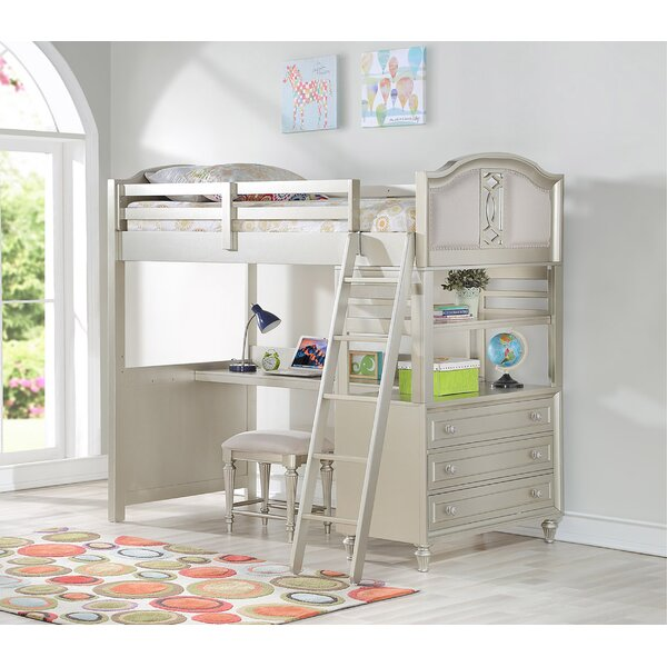 Anette Loft Bed with Drawers, Bookcase and Desk by Harriet Bee