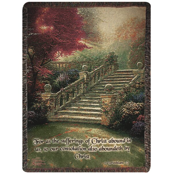 Stairway to Paradise Verse Tapestry Cotton Throw by Manual Woodworkers & Weavers