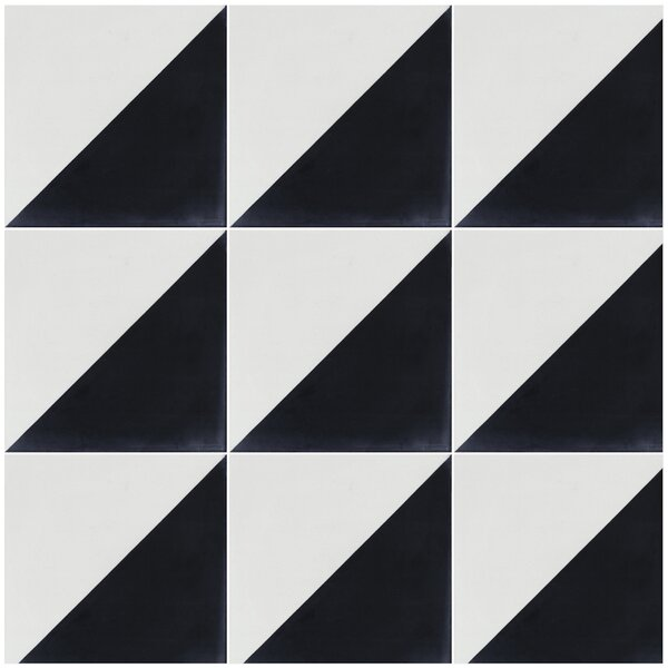 Man Overboard 8 x 8 Cement Field Tile in Black/White by Villa Lagoon Tile
