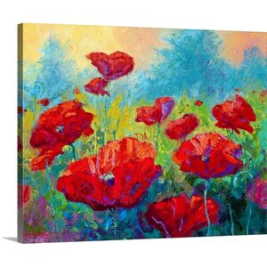 'Field of Red Poppies' by Marion Rose Painting Print on Canvas by Canvas On Demand
