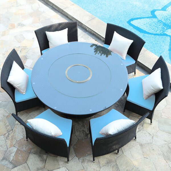 Tony 7 Piece Dining Set with Cushion by Wade Logan