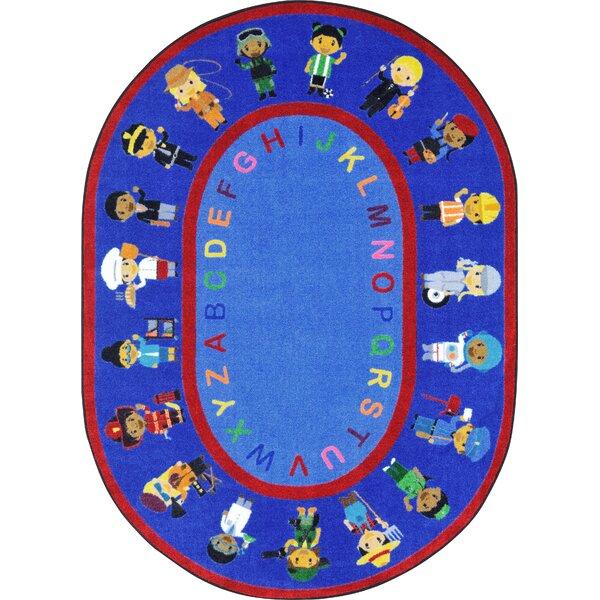 We Work Together Blue/Red Area Rug by Joy Carpets