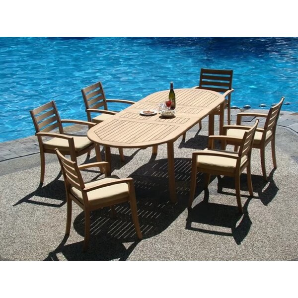 Ariana Luxurious 7 Piece Teak Dining Set by Rosecliff Heights